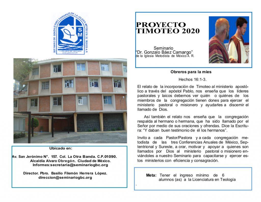 Proyecto Timoteo 2020. Obreros para la mies.